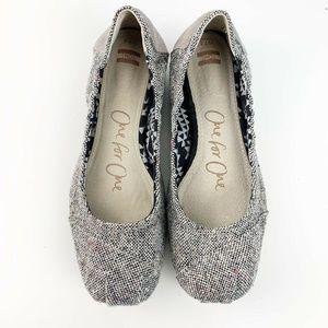 Toms Womens Tan Gray Burlap Ballet Flats